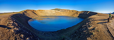 Viti, a huge explosion crater, Northern Iceland On March 29, 1875, a violent eruption in the Dyngjufjoll mountains finally marked the end of the Askja eruptions  This explosive eruption formed the crater Viti, north of Askja Lake