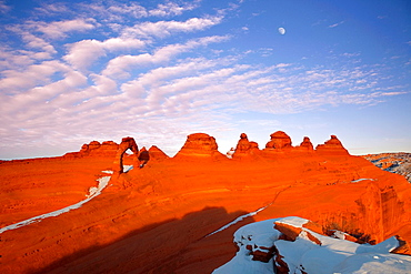 Sunset at Delicate Arch, Snow Scene, Arches National Park, USA