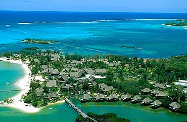 Mauritius island, East coast, Le Prince Maurice Hotel and lagoon.