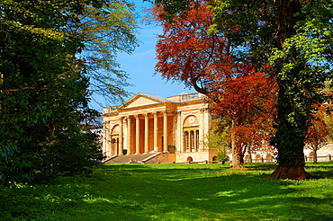 The neo-classic south front with Corinthian columns of the Duke of Buckingham¥s Stowe House designed by Robert Adam in 1771 The landscape English garden was designed by Capability Brown Buckingham, England