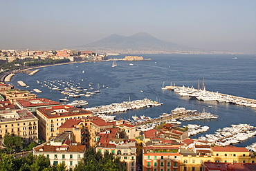overview of the bay from the belvedere at Orazio street, Posillipo district, Naples, Campania region, southern Italy, Europe