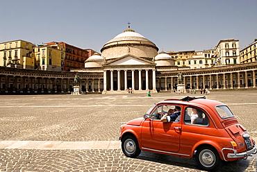 the famous Fiat 500 in front of the San Francesco di Paola Basilica, Plebiscito Square, Naples, Campania region, southern Italy, Europe