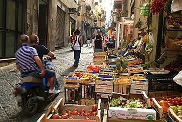 cobbled street in Montecalvario Quarter, Spanish Quarters, Historic center, Naples, Campania region, southern Italy, Europe