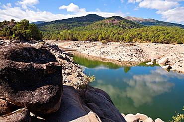 Dry season in the Burguillo reservoir Â¡vila Castilla Leon Spain
