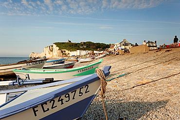 France, Normandy Region, Seine-Maritime Department, Etretat, town beach