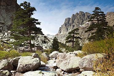 France, Corsica, Haute-Corse Department, Central Mountains Region, Corte-area, Gorges de la Restonica, mountain landscape
