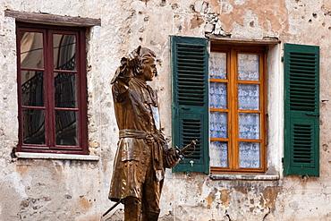France, Corsica, Haute-Corse Department, Central Mountains Region, Corte, Place Gaffori, statue of Francois Gaffori, Corsican polititian