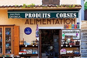 France, Corsica, Haute-Corse Department, Central Mountains Region, Corte, exterior of Corsican products shop