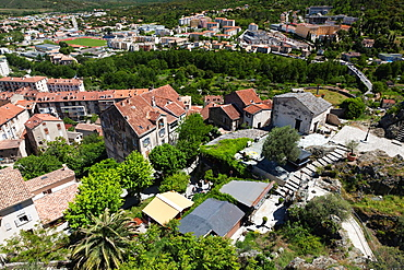 France, Corsica, Haute-Corse Department, Central Mountains Region, Corte, elevated city view from the Citadel