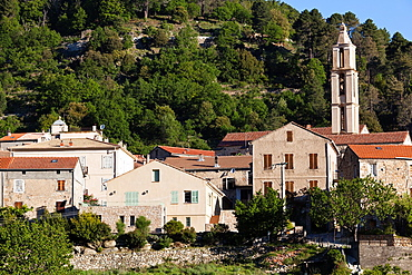 France, Corsica, Haute-Corse Department, Central Mountains Region, Ghisoni, town view