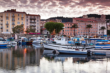 France, Corsica, Corse-du-Sud Department, Corsica West Coast Region, Ajaccio, city view from Port Tino Rossi, dusk