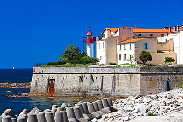 France, Corsica, Corse-du-Sud Department, Corsica West Coast Region, Ajaccio, Port Tino Rossi, lighthouse