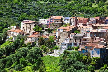 France, Corsica, Haute-Corse Department, La Balagne Region, Zilia, elevated town view