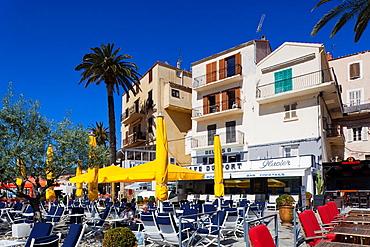France, Corsica, Haute-Corse Department, La Balagne Region, Calvi, Port de Plaissance, yacht harbor, waterfront cafes