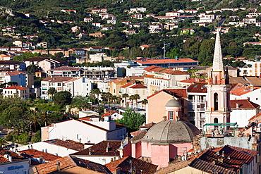 France, Corsica, Haute-Corse Department, La Balagne Region, Calvi, elevated city view above the Place Christophe Colomb, morning