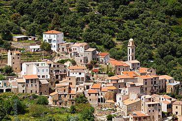 France, Corsica, Haute-Corse Department, La Balagne Region, Avapessa, elevated town view