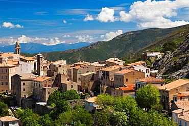 France, Corsica, Haute-Corse Department, La Balagne Region, Speloncato, elevated town view