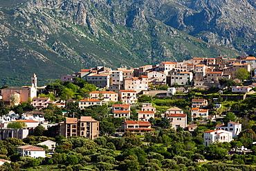 France, Corsica, Haute-Corse Department, La Balagne Region, La Corniche Paoli, mountain landscape by Santa Reparata di Balagna