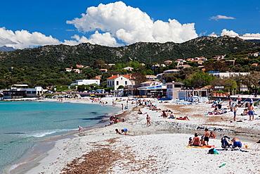 France, Corsica, Haute-Corse Department, La Balagne Region, Ile Rousse, town beach