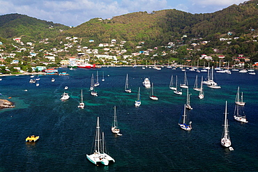 St Vincent and the Grenadines, Bequia, Port Elizabeth, elevated town view from the Hamilton Battery