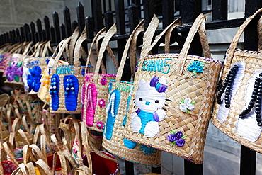 Bahamas, New Providence Island, Nassau, Straw market, Bahamian straw bags, souvenirs