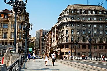 Arenal Bridge Bilbao. Bilbo. Bizkaia. Vizcaya. Pais Vasco. Euskadi. Pasque Country, Spain