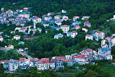 France, Corsica, Haute-Corse Department, Central Mountains Region, Venaco, elevated town view, dusk