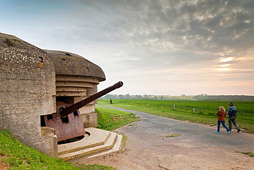 France, Normandy Region, Calvados Department, D-Day Beaches Area, Longues Sur Mer, WW2-era German 150mm artillery battery