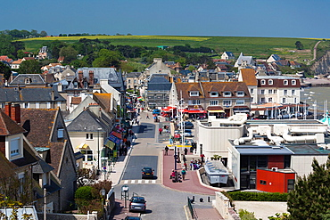 France, Normandy Region, Calvados Department, D-Day Beaches Area, Arromanches les Bains, elevated town view