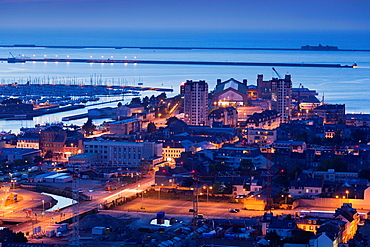 France, Normandy Region, Manche Department, Cherbourg-Octeville, elevated Cherbourg city view from the Fort du Roule, dusk