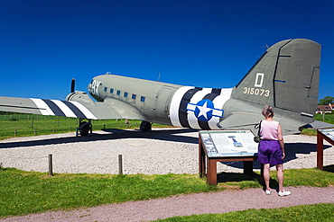France, Normandy Region, Calvados Department, D-Day Beaches Area, Merville-Franceville, Musee de la Batterie de Merville, Merville Battery Museum, site of WW2-era D-Day invasion battle, US-made C-47 Dakota transport airplane