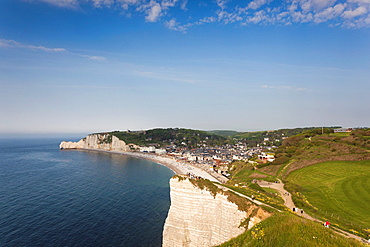 France, Normandy Region, Seine-Maritime Department, Etretat, elevated view of town beach
