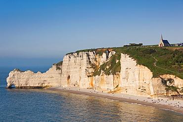 France, Normandy Region, Seine-Maritime Department, Etretat, Falaise De Amont cliffs