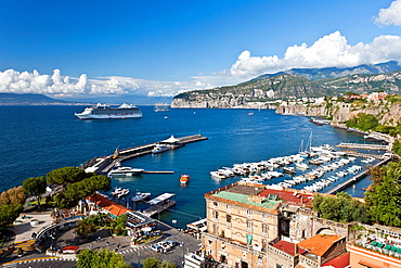The town of Sorrento and the Bay of Naples in Sorrento, Campania, Italy