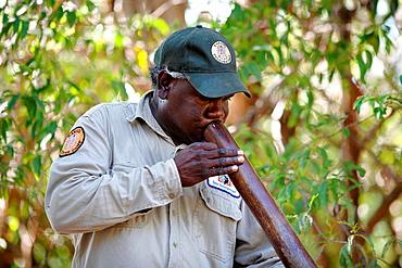 Aboriginal Tour Guide demonstrates a Digeridoo Kakadu National Park Northern Territory, Australia