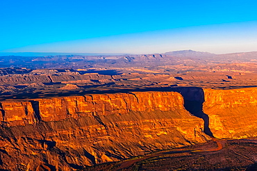 Aerial view of Santa Elena Canyon in Big Bend National Park, Texas USA Mexico is on the left side of the canyon, US on right and mountains in background are Mexico