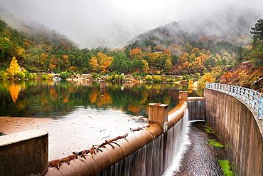 Piedralaves reservoir and Sierra de Gredos avila Castilla Leon Spain