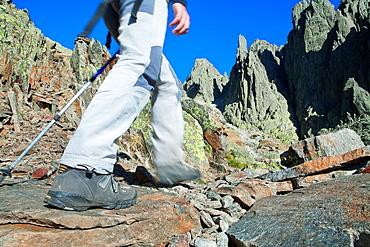 Mountaineers walking to Los Galayos, in Sierra de Gredos Regional Park, avila Castilla y Leon Spain