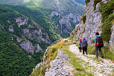 Hikers walking down from Tresviso, a small village in Picos de Europa National Park by historic Urdon path to La Hermida Gorges Penarrubia Cantabria, Spain