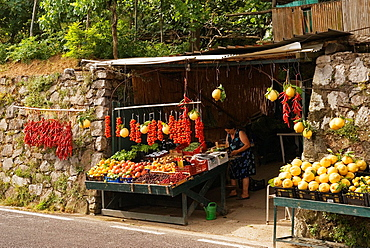 local fruits and vegetables for sale at the roadside, Campania region, southern Italyy, Europe