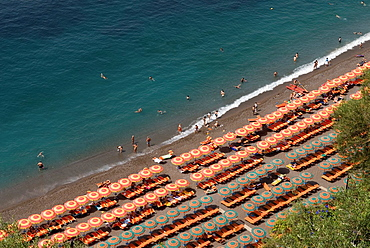beach at Positano, Amalfi Coast, province of Salerno, Campania region, southern Italyy, Europe