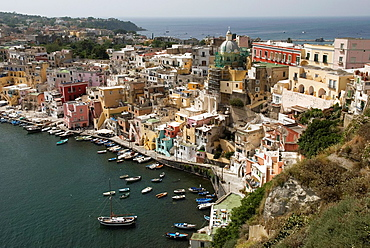 harbour of Corricella, Procida island, Campania region, southern Italyy, Europe