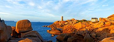 France, Brittany, Cotes d'Armor 22, Cotes de Granite Rose, Ploumanac'h, Squewel end and Mean Ruz Lighthouse