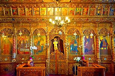 Iconostasis of the 12th century Byzantine Holy Church of Nea Megali Panagia, restored 1727, Thesalonica, Greece