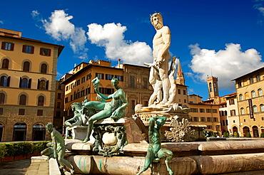 The Fountain of Neptune by Bartolomeo Ammannati 1575, Piazza della Signoria in Florence, Italy