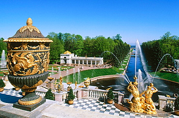 Grand Cascade: canals and water works, Peterhof Park, St, Petersburg, Russia