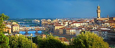 Panoramic view of Florence and the Ponte Vecchio, Italy