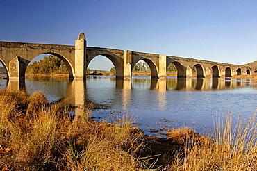 Medieval bridge and Guadiana river, Medellin, Badajoz-province, Spain,