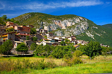 Spain, Catalonia, Pyrenees, Gosol Houses in the village of Gosol in the Catalonian Pyrenees mountains