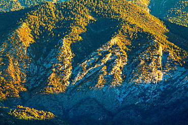 Spain, Catalonia, Pyrenees, Cadi-Moixero Natural Park Early morning light highlights the geological features of the Cadi-Moixero Natural Park near Pedraforca Mountain